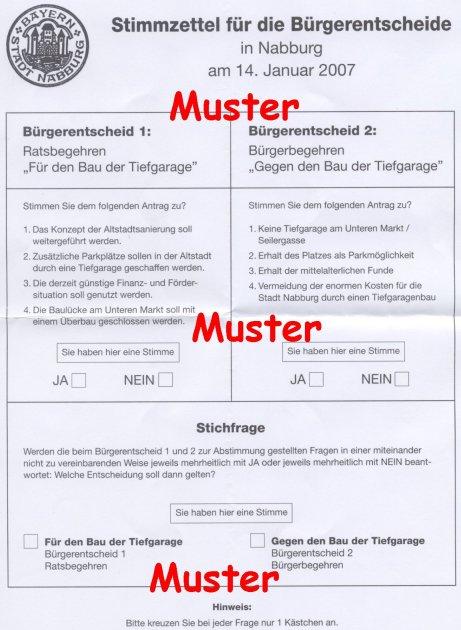 Stimmzettel zum Bürgerentscheid